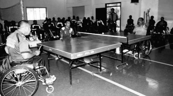 A table-tennis match underway