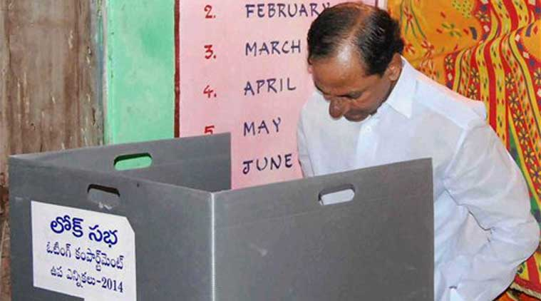 Telangana Chief Minister K Chandra Shekhar Rao castes his vote in bypoll for Medak Lok Sabha seat in Telengana. (Source: PTI)