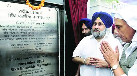 Rajnath Singh along with Sukhbir Singh Badal at the memorial's foundation stone-laying ceremony.