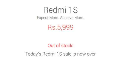 Xiaomi Redmi 1S out of stock