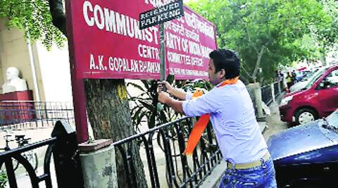 A protester outside the CPM office in Delhi on Tuesday. Source: Prem nath pandey