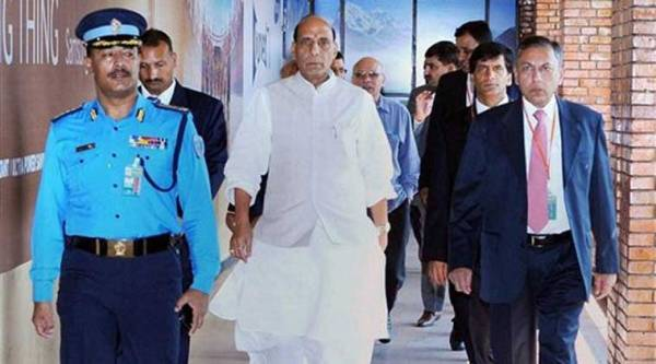 Union Home Minister Rajnath Singh being received by the Ambassador of India to Nepal, Ranjit Rae on his arrival to attend the Sixth Meeting of SAARC Ministers of Interior/Home, in Kathmandu on Thursday. (Source: PTI)