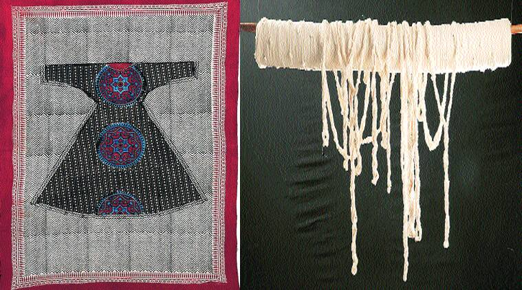The artist uses khadi and Ajrakh prints to discuss possibilities of alternative societies.