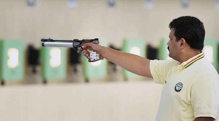 Samresh Jung (above), Jitu Rai and PN Prakash finished on the bottom step of the podium in the 10m air pistol team event. ( Source: PTI)