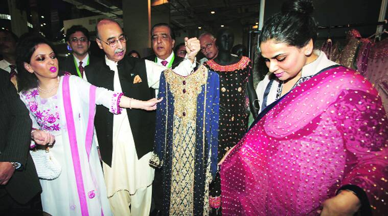 Pak envoy Abdul Basit and his wife at the exhibition. (Source: Express file)
