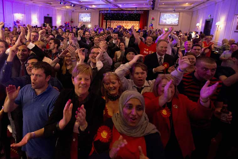No supporters for the Scottish independence referendum celebrate the overall result at a No campaign event at an hotel in Glasgow, Scotland, Friday, Sept. 19, 2014. (Source: AP photo)