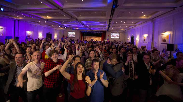 Supporters of the No campaign for the Scottish independence referendum celebrate after a result was announced at a No campaign event at a hotel in Glasgow, Scotland, Friday, Sept. 19, 2014. (Source: AP photo)