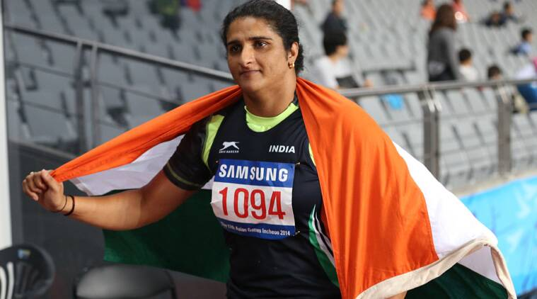 Seema ran away with the gold with a best throw of 61.03m in the women's discus throw final while team-mate Krishna Poonia finished fourth. (Source: AP)