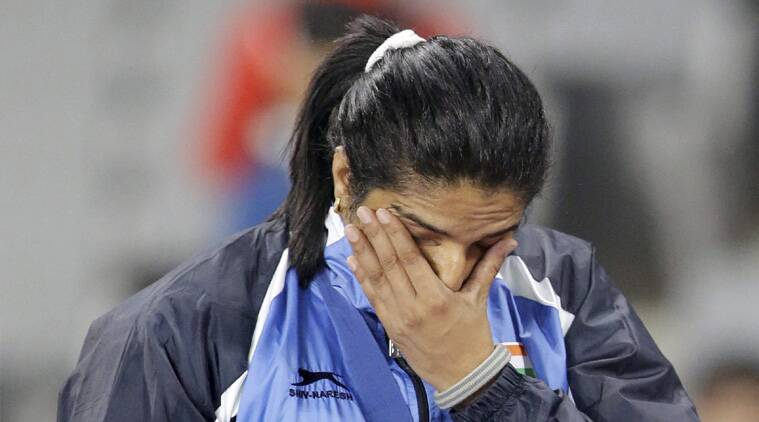 Seema Punia after winning the discus gold in Incheon on Monday (Source: PTI)