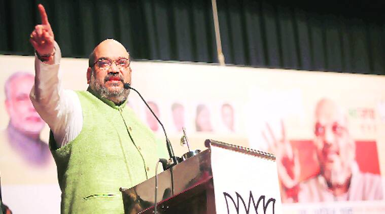 Amit Shah addresses party workers in Mumbai Thursday. (Source: Express photo by Pradip Das)