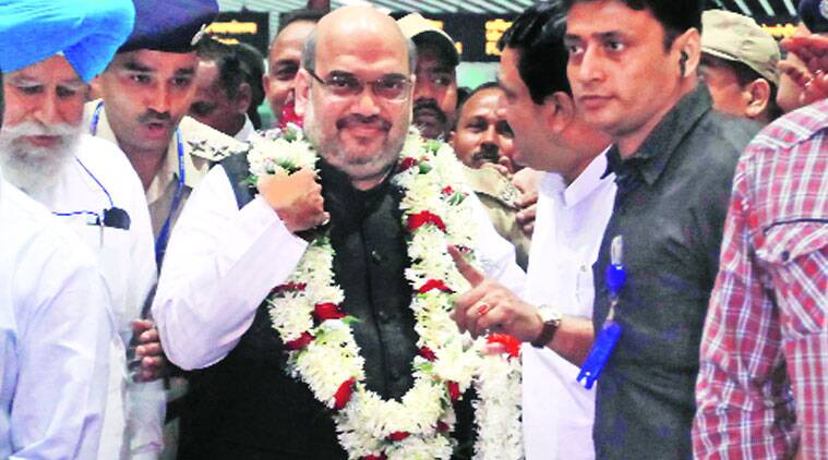 BJP president Amit Shah at Kolkata airport on Saturday. (Source: Express photo by Subham Dutta)