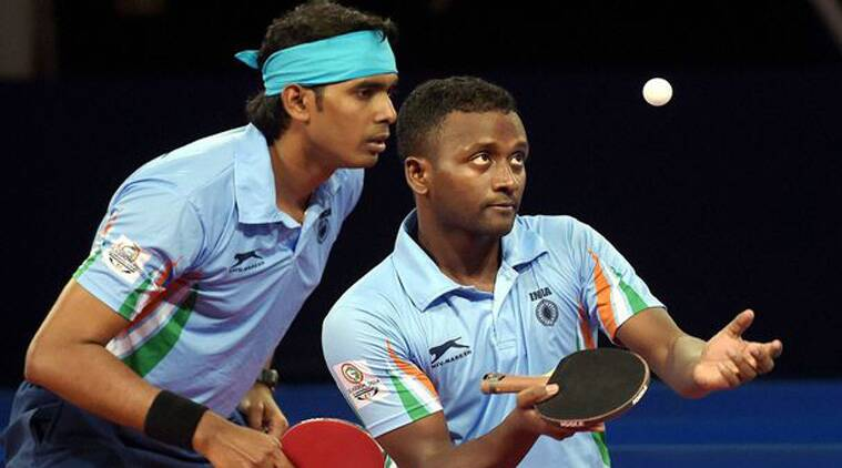 File photo of Sharath Kamal and Anthony Amalraj in action at the Glasgow Commonwealth Games. (Source: File Photo)