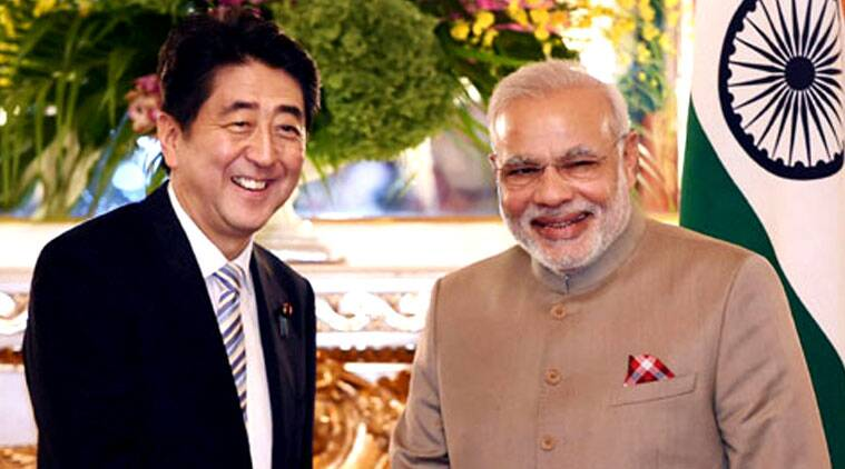 Minister Narendra Modi with his Japanese counterpart Shinzo Abe before a delegation level meeting during his visit to Tokyo. (Source: PTI Photo)