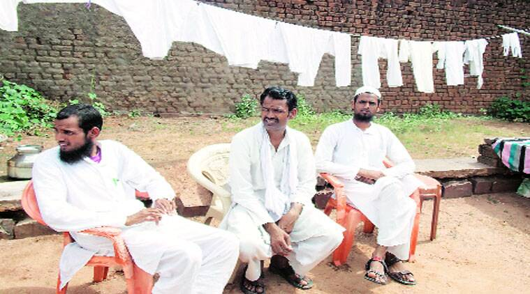 Maniram, who returned to Hindu fold on Thursday, flanked by his sons Ibrahim (on his left) and Kasim. Under pressure, Kasim has sought 10 days to decide on re-conversion.
