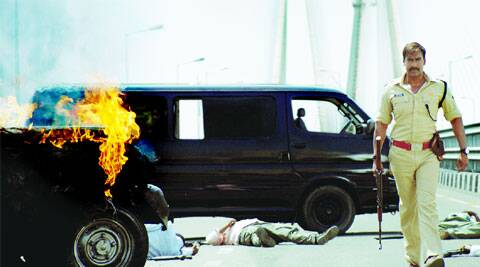 An explosive situation on the Mumbai-Worli sea link shows Ajay Devgn walking away nonchalantly afrer a jeep catches fire