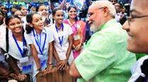 Narendra Modi connects his office to classrooms across the country, says educating girls ispriority