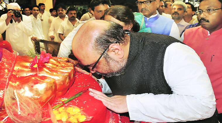 BJP chief Amit Shah seeks blessing of Lalbaugcha Raja at Lalbaug in Mumbai.