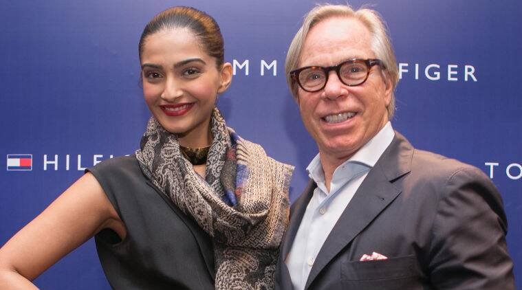 Sonam was chic in a signature Hilfiger jumpsuit as she posed for pictures along with designer Thomas Jacob Hilfiger.