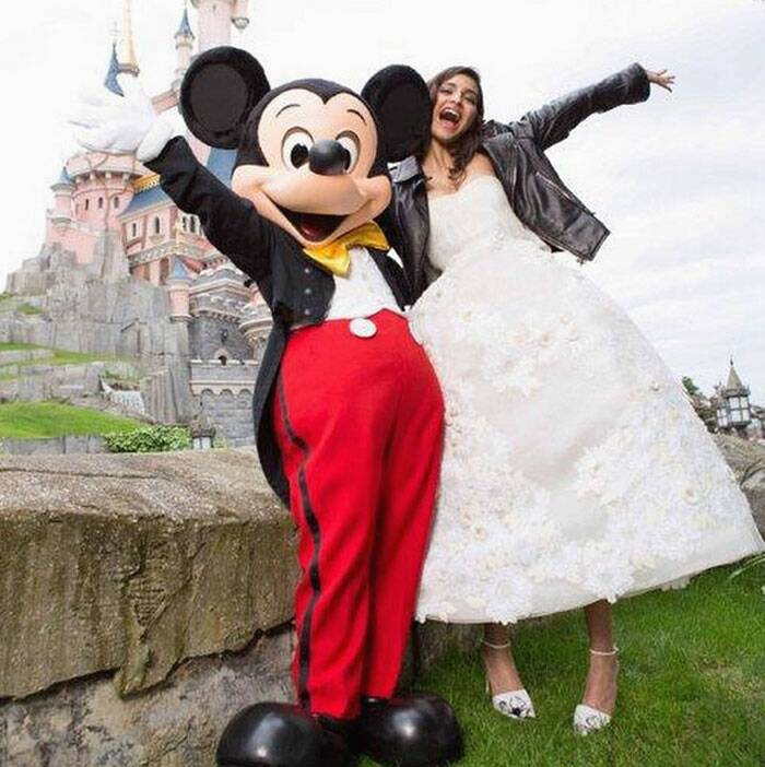 Sonam with Mickey.