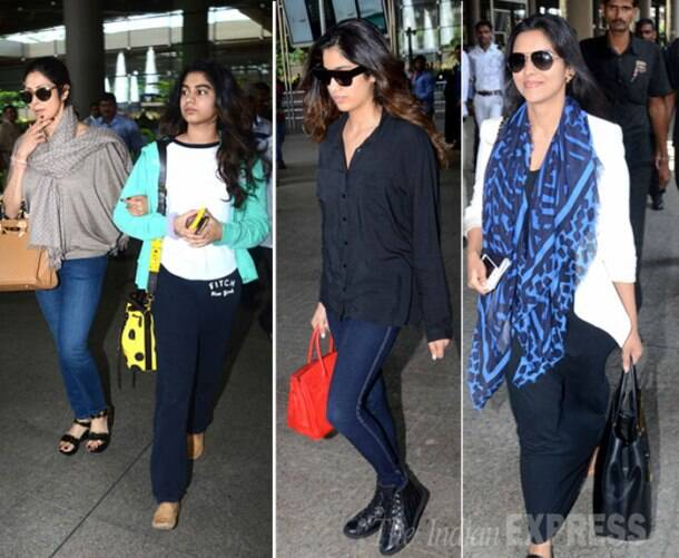 Asin, Sridevi's airport spotting with daughters Jhanvi, Khushi