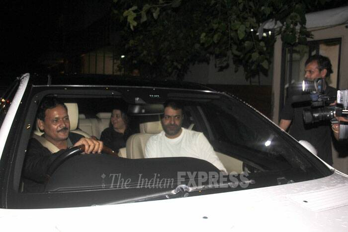 Producer Shrishti Arya arrives in her car. (Source: Varinder Chawla)