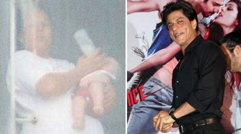 SRK, who has been working 16 hours at a stretch for his upcoming film 'Happy New Year' team, had AbRam on the sets and it made his day.