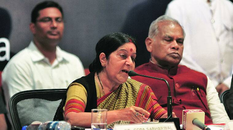 Sushma during the inauguration in Rajgir on Friday.