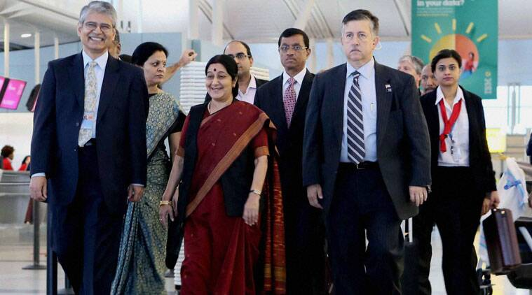 External Affairs Minister Sushma Swaraj being received by Ambassador Asoke Mukerji (left), India's Permanent Representative to the UN, after her arrival at JFK Airport in New York on Wednesday, Sept 24, 2014. (Source: PTI photo)