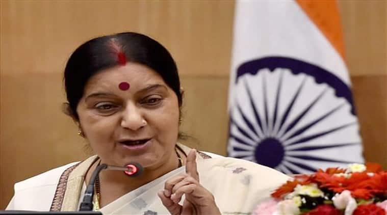 Sushma Swaraj, india sri lanka ties, swaraj sri lanka visit, india first bilateral visit Sri Lanka, Sri Lanka PM, Narendra Modi, india sri lanka, Ranil Wickremesinghe, Mangala Samaraweera, sri lanka news, asia news, world news, indian express