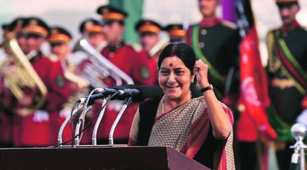 Sushma Swaraj at an event in Kabul where President Hamid Karzai hoisted the largest Afghanistan national flag, which was made in India, on Wednesday. Source: REUTERS