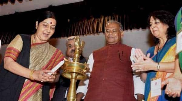 External Affairs Minister Sushma Swaraj lights the lamp with Bihar Chief Minister Jitan Ram Manjhi during formal inauguration of Nalanda University at International Convention Centre in Rajgir on Friday (Source: PTI Photo)