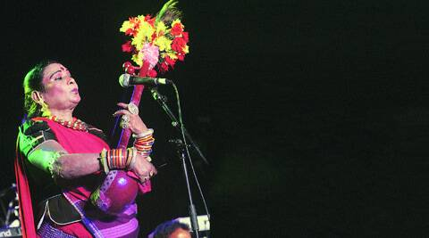 Teejan Bai during her performance in Delhi on 31 August, Saturday. (Source: Express photo by Amit Mehra)