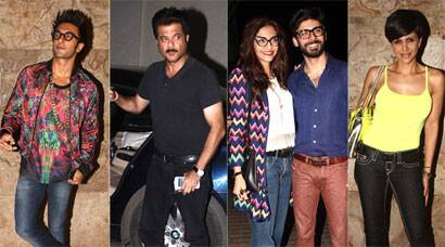 Dad Anil Kapoor, sister Rhea and Ranveer watch Sonam, Fawad's 'Khoobsurat'