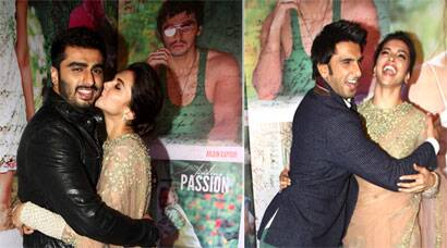 Deepika hugs rumoured beau Ranveer, but saves the kisses only for Arjun