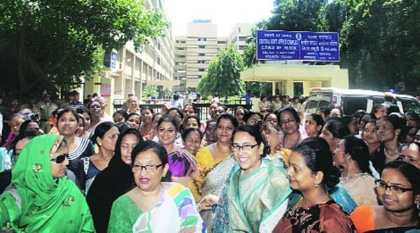 Law Minister Chandrima Bhattacharya (2nd from left) at the protest outside CBI office in Kolkata, on Thursday.