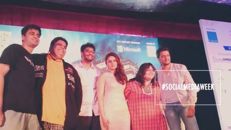Huma Qureshi and Riteish Deshmukh at the Social Media Week, Mumbai