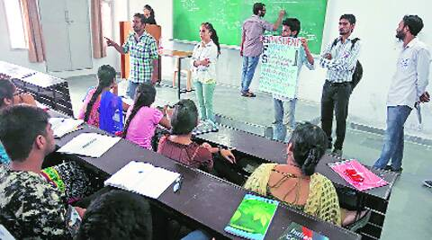Members of a panel campaign in an UILS classroom at PU. (Source: Express photo by Kamleshwar Singh)