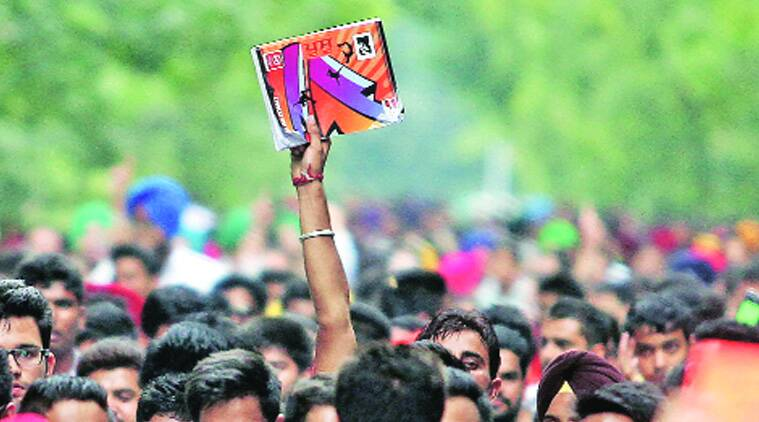 Supporters of PUSU alliance take out a rally on the last day of campaigning at Panjab University, Chandigarh, on Thursday. (Source: Express photo Kamleshwar Singh)
