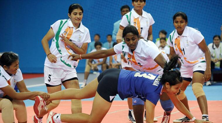 A file photo of the Indian women's kabaddi team in action (Source: http://www.yas.nic.in)