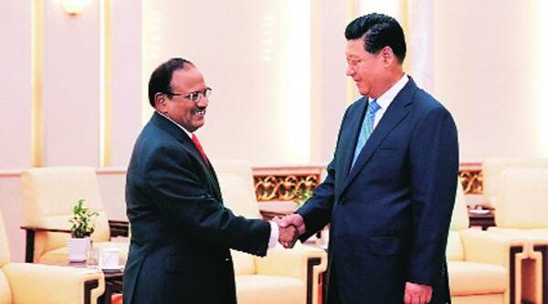 Chinese President Xi Jinping with NSA Ajit Doval in Beijing Tuesday. Source: AP photo