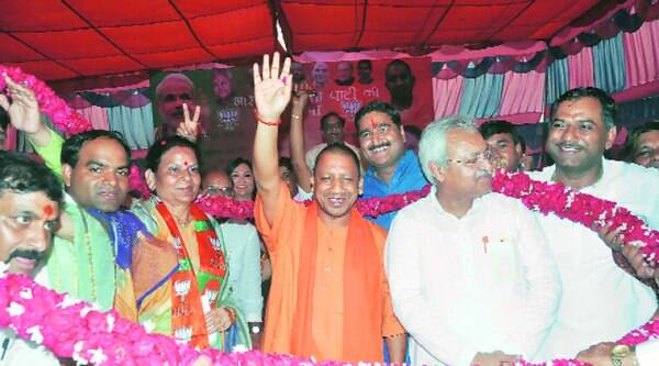 Yogi Adityanath in Noida last week; served an EC notice after speech in which he accused Samajwadi Party government of bias towards Muslims.(Source: Express photo)