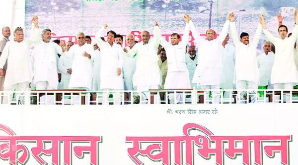 Nitish Kumar, Ajit Singh, H D Deve Gowda, Sharad Yadav, Shivpal Singh Yadav and Jayant Chaudhary at the Kisan Swabhiman Rally in Meerut on Sunday. (Source: IE photo by Munish Kumar)