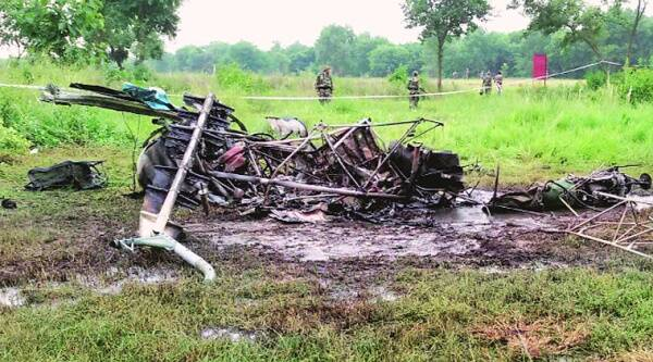The wreckage of the Army helicopter which crashed in Bareilly on Wednesday. Source: PTI