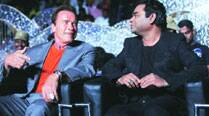 Hollywood legend Arnold Schwarzenegger (left) with music director AR Rahman at the audio launch of the romantic action film — I  —in Chennai recently