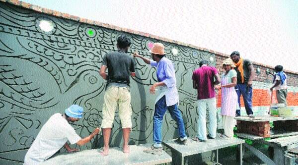 Suresh Nair maps India's Partition history on the mural as he layers it with motifs of peace