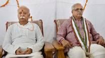 RSS Chief Mohan Bhagwat with General Secretary Bhaiyyaji Joshi. (Source: PTI photo)
