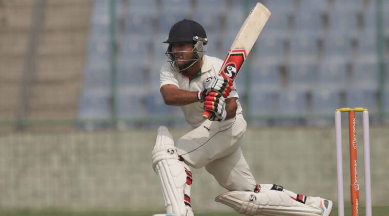 Central Zone's Robin Bist plays a shot on his way to century at Feroz Shah Kotla on Wednesday. (Source: Express Photo by
