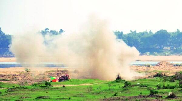 Explosives seized from Burdwan being deactivated near Damodar river.