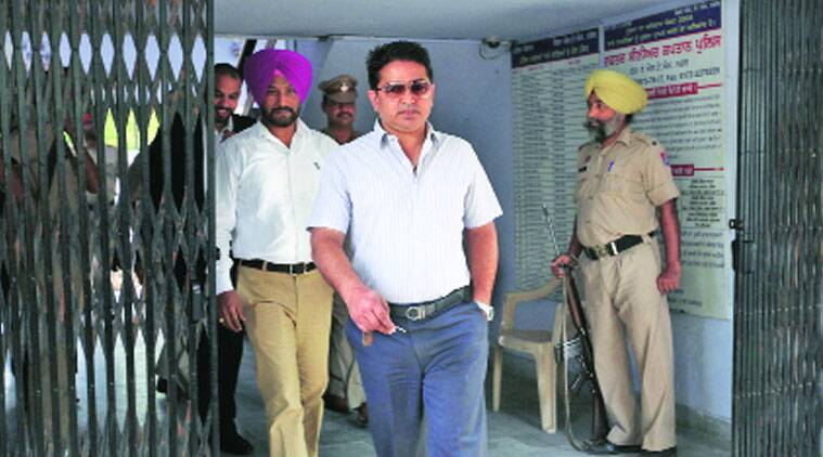 Suspended IGP Gautam Cheema at Mohali Phase 1 police station on Friday. (Source: Expres photo by Kamleshwar Singh)