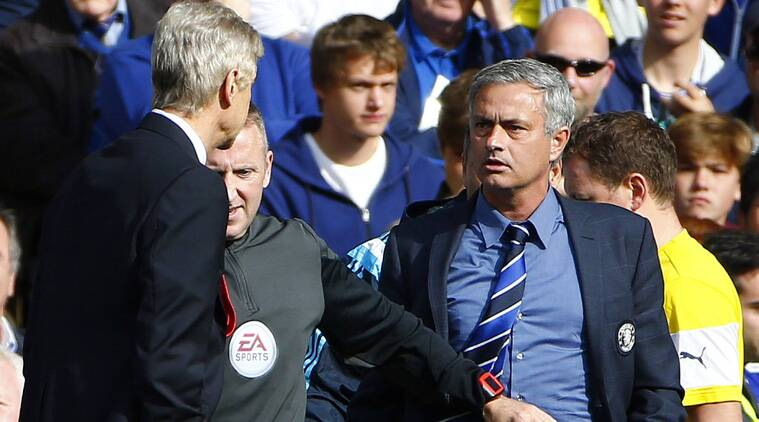 Wenger could face disciplinary action after shoving Mourinho in the chest midway through the first half after a heated exchange of views. (Source: Reuters)